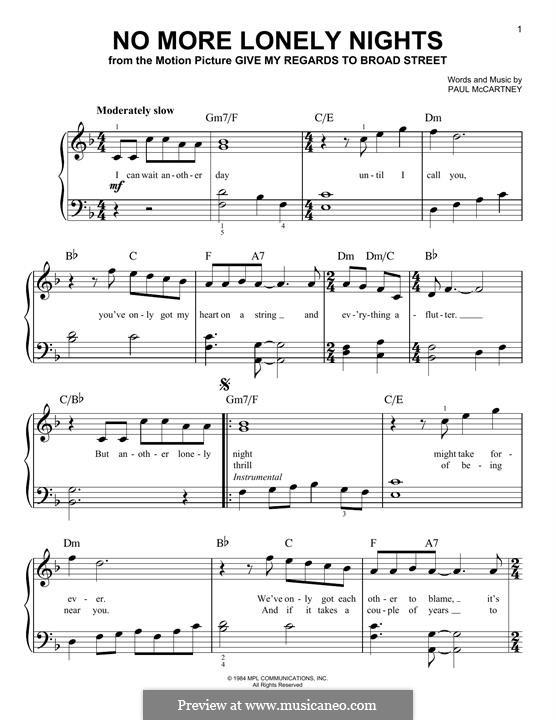 No More Lonely Nights: Für Klavier by Paul McCartney