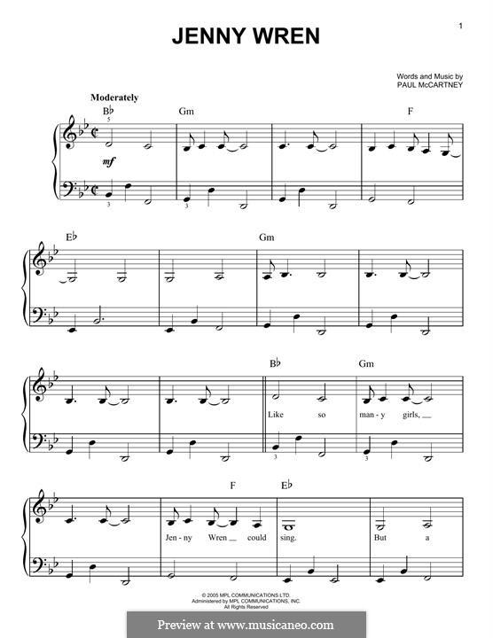 Jenny Wren: Für Klavier by Paul McCartney