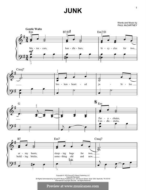 Junk: Für Klavier by Paul McCartney