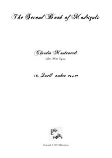 Heft 2 (für fünf Stimmen), SV 40–59: No.10 Quell ombra esser. Arrangement for quintet instruments by Claudio Monteverdi