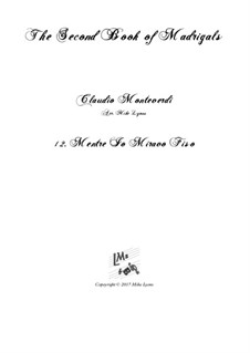 Heft 2 (für fünf Stimmen), SV 40–59: No.12 Mentre io miravo fiso. Arrangement for quintet instruments by Claudio Monteverdi