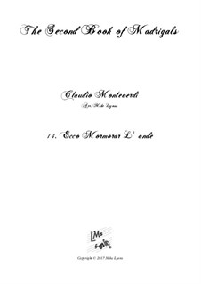 Heft 2 (für fünf Stimmen), SV 40–59: No.14 Ecco mormorar l'onde. Arrangement for quintet instruments by Claudio Monteverdi