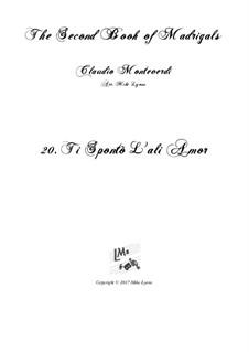 Heft 2 (für fünf Stimmen), SV 40–59: No.20 Ti spontò l'ali amor. Arrangement for quintet instruments by Claudio Monteverdi