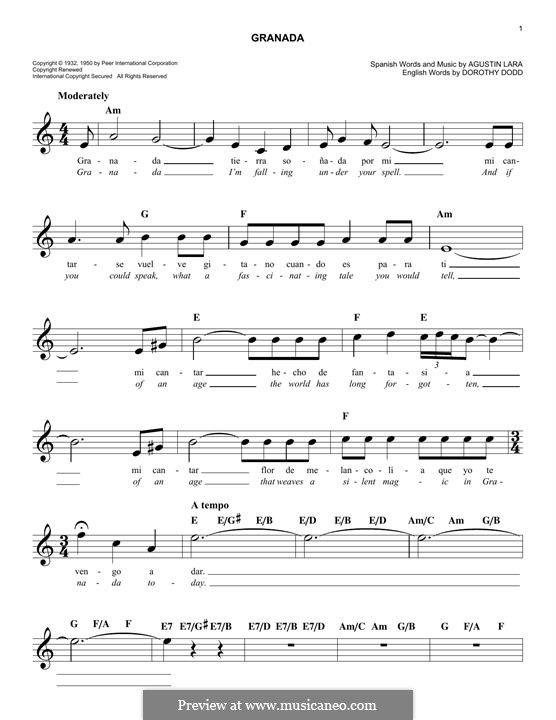 Granada: Melodische Linie by Agustin Lara