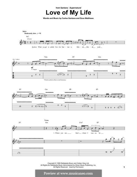 Love of My Life (Santana): Für Gitarre mit Tabulatur by Carlos Santana, David J. Matthews