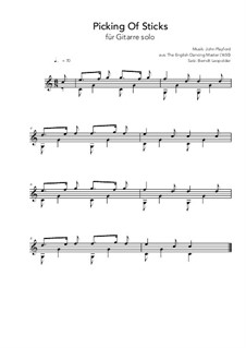 Picking of Sticks: Für Gitarre (C-Major) by John Playford