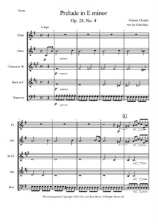 Nr.4 in e-Moll: For woodwind quintet by Frédéric Chopin