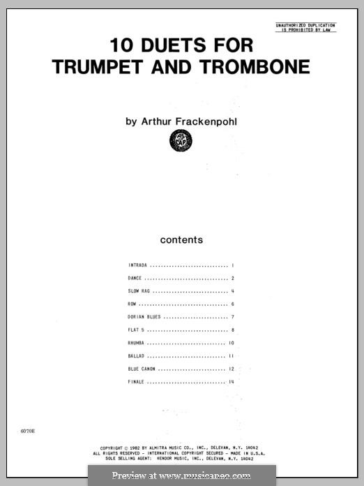 10 Duets: For trumpet and trombone by Arthur Frackenpohl