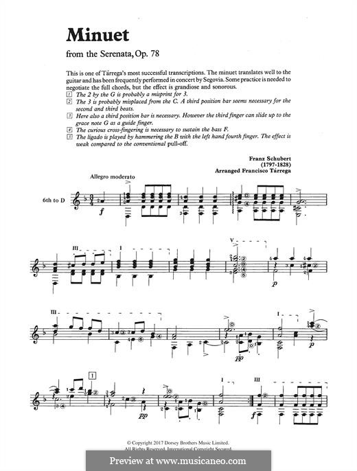 Sonate für Klavier Nr.18 in G-Dur, D.894 Op.78: Movement III. Minuet, for guitar by Franz Schubert