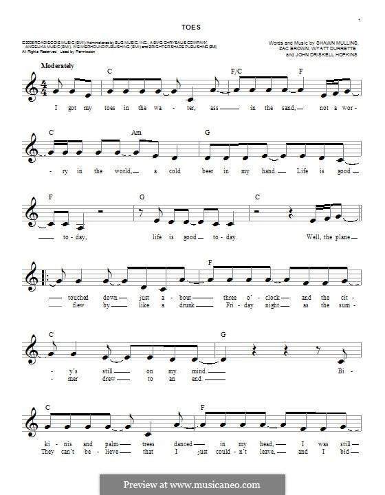 Toes (Zac Brown Band): Melodische Linie by John Driskell Hopkins, Shawn Mullins, Wyatt Durrette, Zac Brown