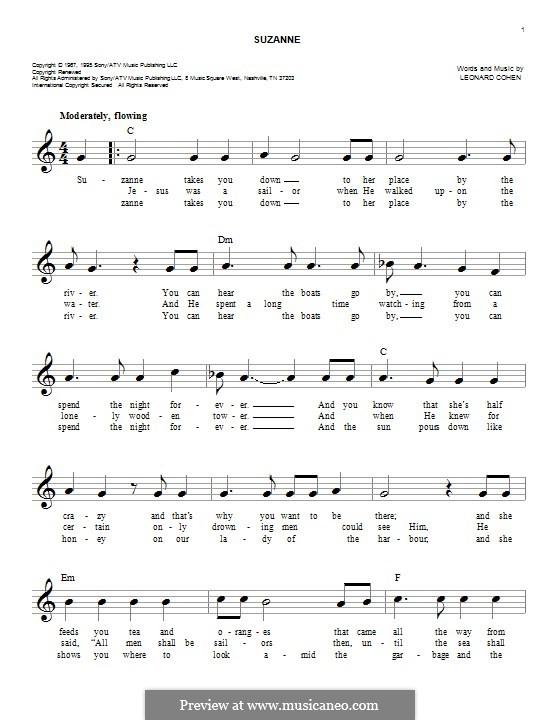 Suzanne: Melodische Linie by Leonard Cohen