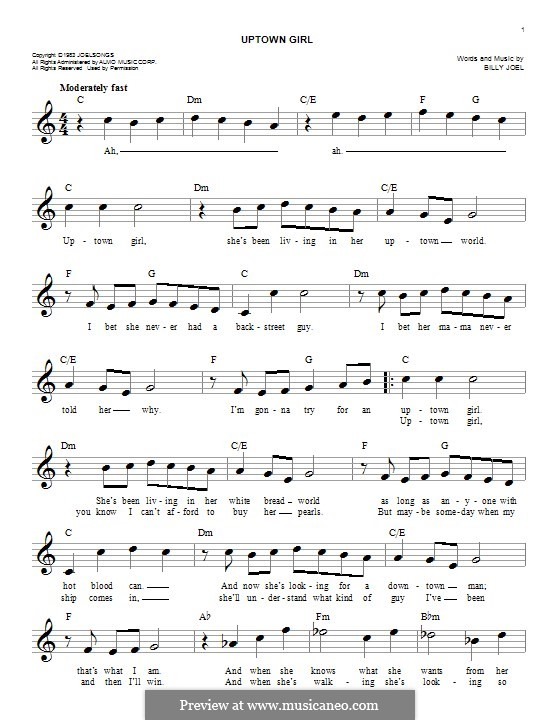 Uptown Girl: Melodische Linie by Billy Joel