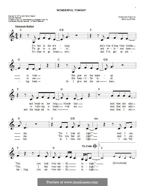 Wonderful Tonight: Melodische Linie by Eric Clapton