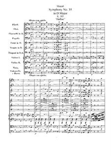Sinfonie Nr.35 in D-Dur 'Haffner', K.385: Vollpartitur by Wolfgang Amadeus Mozart