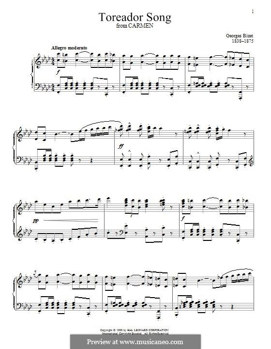 Toreador's Song: Für Klavier by Georges Bizet