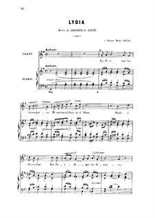 Zwei Lieder, Op.4: No.2 Lydia, for high voice by Gabriel Fauré