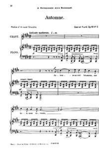 Drei Lieder, Op.18: No.3 Automne, for high voice by Gabriel Fauré