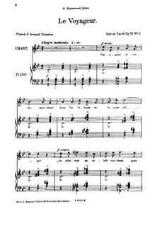 Drei Lieder, Op.18: No.2 Le voyageur, for high voice by Gabriel Fauré