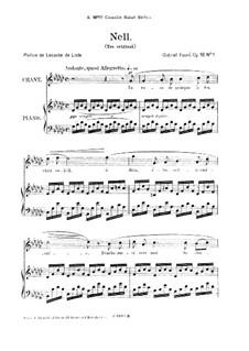 Drei Lieder, Op.18: No.1 Nell, for high voice by Gabriel Fauré