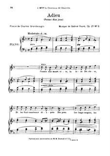 Poème d'un jour, Op.21: No.3 Adieu by Gabriel Fauré