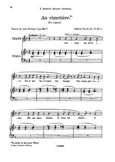 Vier Lieder, Op.51: No.2 Au cimetière, for high voice by Gabriel Fauré