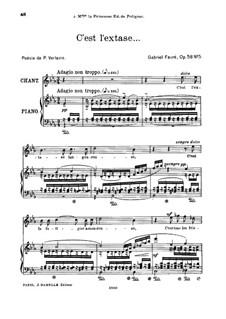 Fünf Lieder, Op.58: No.5 C'est l'extase, for high voice by Gabriel Fauré