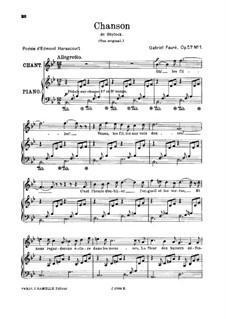 Shylock. Suite, Op.57: Movement I. Chanson, for high voice by Gabriel Fauré