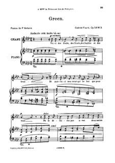 Fünf Lieder, Op.58: No.3 Green, for high voice by Gabriel Fauré