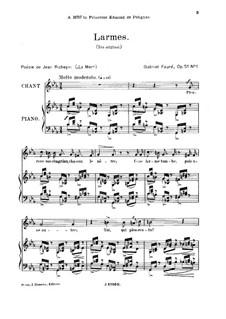 Vier Lieder, Op.51: No.1 Larmes, for high voice by Gabriel Fauré