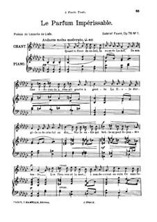 Zwei Lieder, Op.76: No.1 Le parfum impérissable, for high voice by Gabriel Fauré