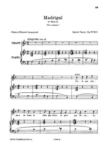 Shylock. Suite, Op.57: Movement III. Madrigal, for high voice by Gabriel Fauré
