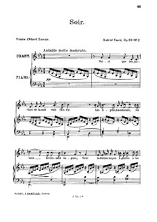 Zwei Lieder, Op.83: No.2 Soir, for high voice by Gabriel Fauré