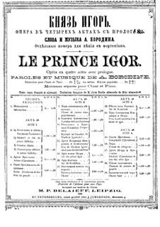 Vollständiger Oper: Klavierauszug mit Singstimmen by Alexander Porfiryevich Borodin