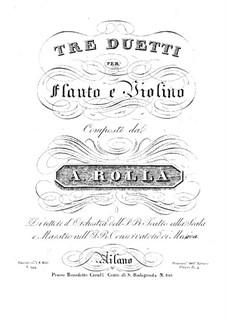Drei Duos für Flöte und Violine, BI 249, 253, 255: Drei Duos für Flöte und Violine by Alessandro Rolla