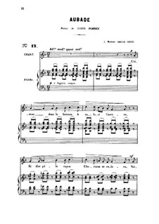 Drei Lieder, Op.6: No.1 Aubade, for medium voice by Gabriel Fauré