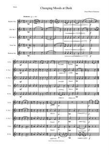 Changing moods at dusk: For saxophone quintet (soprano, 2 altos, 1 tenor, 1 baritone) by David W Solomons