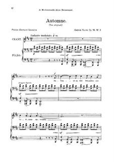 Drei Lieder, Op.18: No.3 Automne, for medium voice by Gabriel Fauré