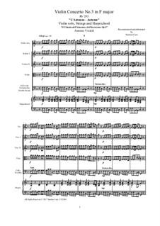 Violinkonzert Nr.3 in F-Dur 'Herbst', RV 293: Vollpartitur, Stimmen by Antonio Vivaldi