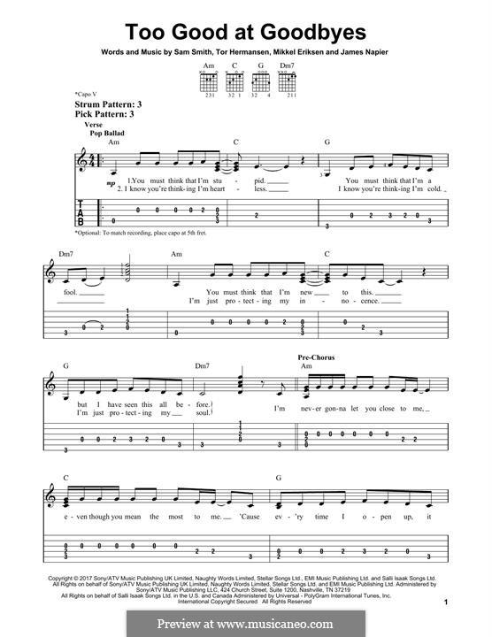 Too Good at Goodbyes: Für Gitarre mit Tabulatur by Mikkel Storleer Eriksen, Samuel Smith, Tor Erik Hermansen, James Napier