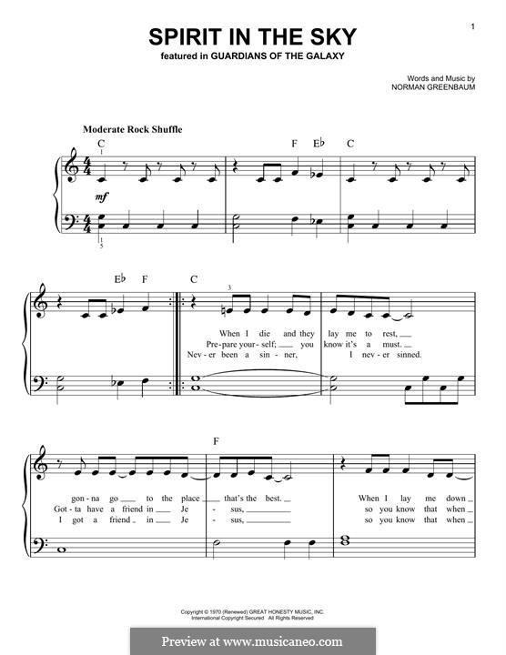 Spirit in the Sky: Für Klavier by Norman Greenbaum