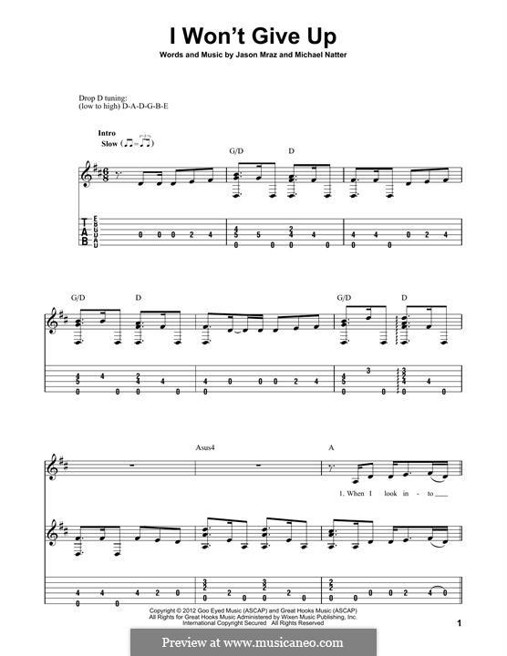I Won't Give Up: Für Gitarre mit Tabulatur by Jason Mraz, Michael Natter