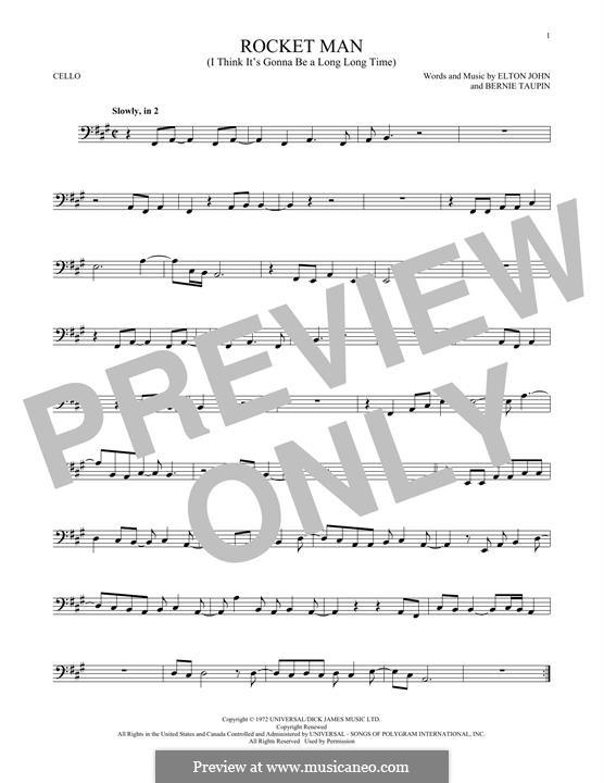 Rocket Man (I Think It's Gonna Be a Long Long Time): Für Cello by Elton John