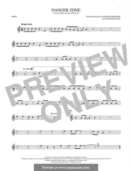Danger Zone (from Top Gun): For horn by Giorgio Moroder, Tom Whitlock