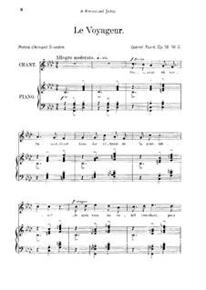 Drei Lieder, Op.18: No.2 Le voyageur, for medium voice by Gabriel Fauré