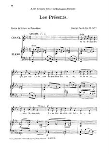Zwei Lieder, Op.46: No.1 Les présents, for medium voice by Gabriel Fauré