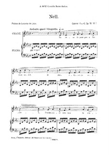 Drei Lieder, Op.18: No.1 Nell, for medium voice by Gabriel Fauré