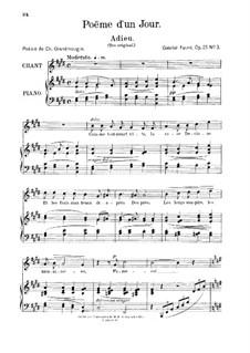 Poème d'un jour, Op.21: No.3 Adieu, for medium voice by Gabriel Fauré