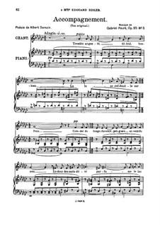 Drei Lieder, Op.85: No.3 Accompagnement, for medium voice by Gabriel Fauré