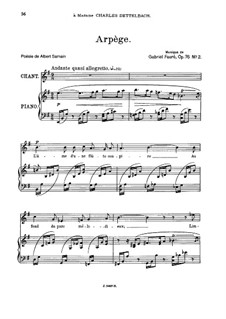 Zwei Lieder, Op.76: No.2 Arpège, for medium voice by Gabriel Fauré