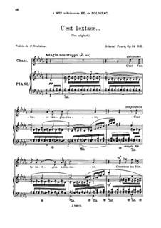 Fünf Lieder, Op.58: No.5 C'est l'extase, for medium voice by Gabriel Fauré